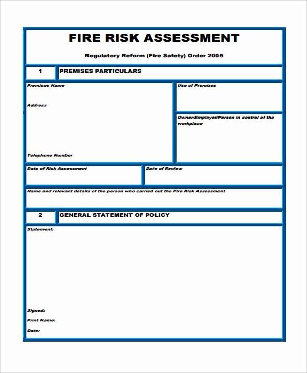 Fire Department Pre Plan Template Unique 36 Sample Risk assessment form