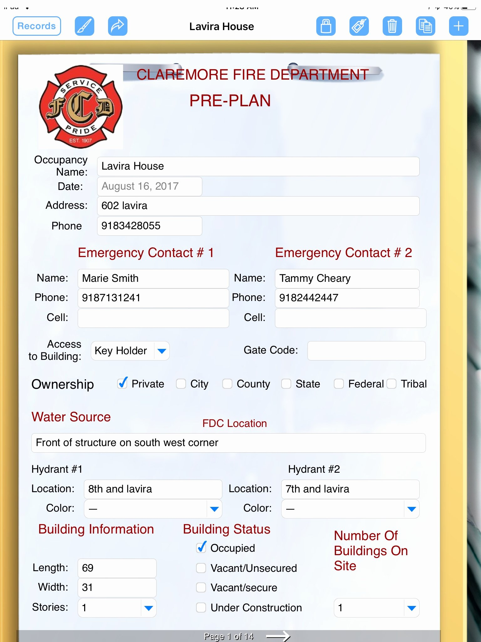 fire department formconnect app emergency pre planning