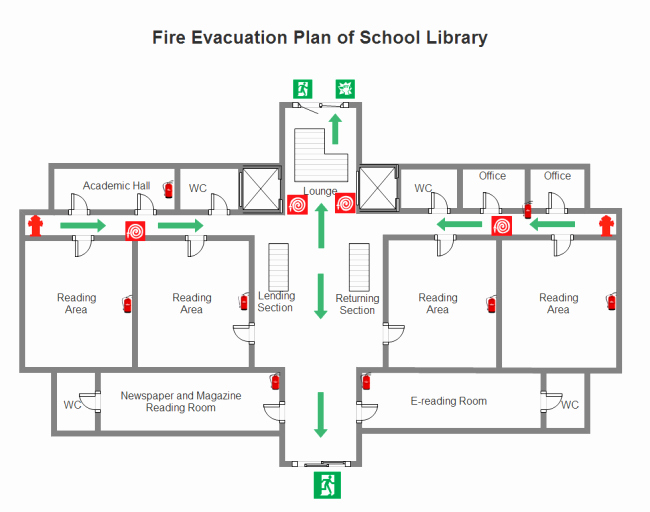 Fire Escape Plan Template Lovely Library Fire Evacuation Plan