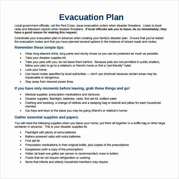 Fire Evacuation Plan Template New Sample Evacuation Plan Template 9 Free Documents In Pdf