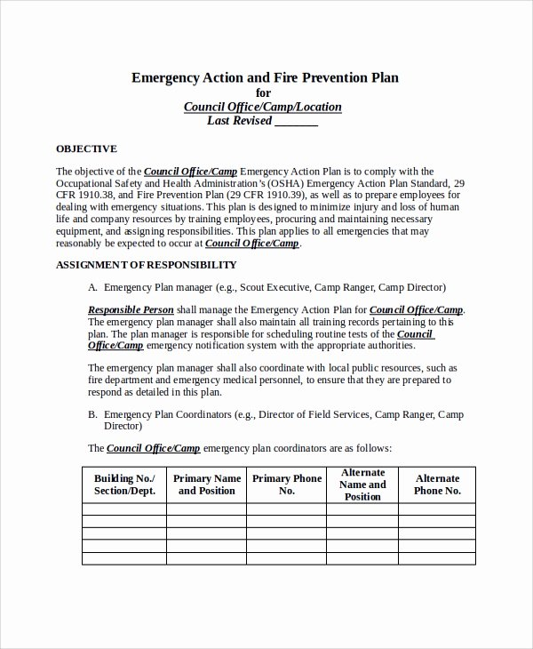 Fire Prevention Plan Template Inspirational 46 Sample Action Plans
