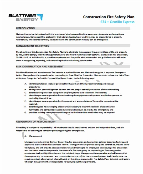 Fire Prevention Plan Template New 29 Safety Plan formats