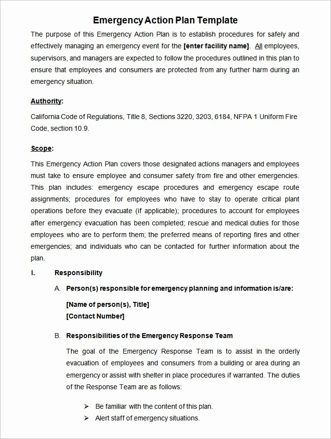 Fire Safety Plan Template Best Of 14 Emergency Action Plan Template Word Excel Pdf