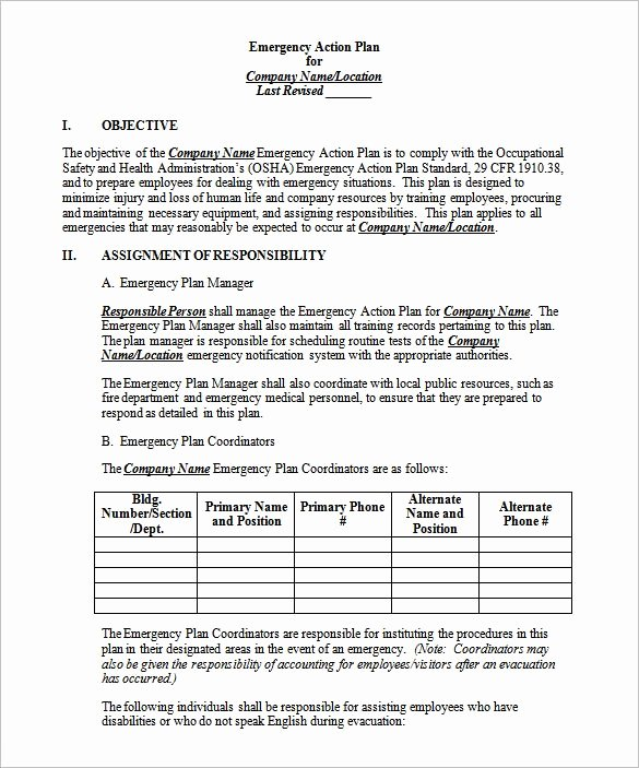 Fire Safety Plan Template Fresh 14 Emergency Action Plan Template Word Excel Pdf