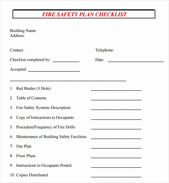 Fire Safety Plan Template Inspirational Safety Plan Template 7 Documents In Pdf