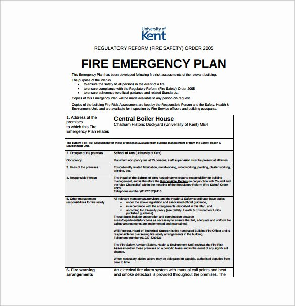 Fire Safety Plan Template Luxury Emergency Preparedness Plan Template Uk Templates