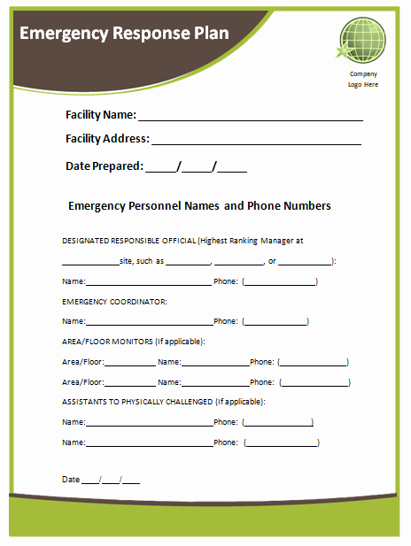 Fire Safety Plan Template New Emergency Response Plan Template Microsoft Word Templates