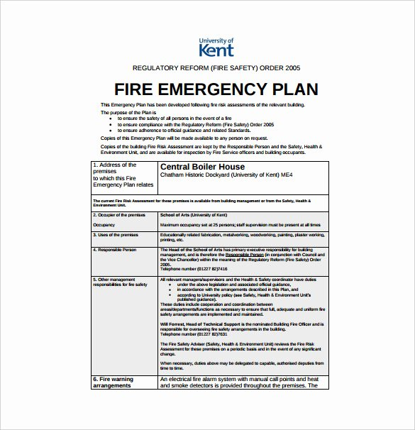Fire Safety Plan Template Unique 14 Emergency Plan Templates Free Sample Example