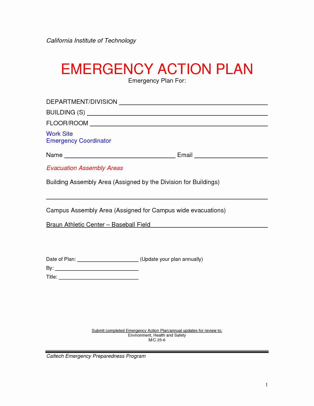 Fire Safety Plan Template Unique Emergency Action Plan Template
