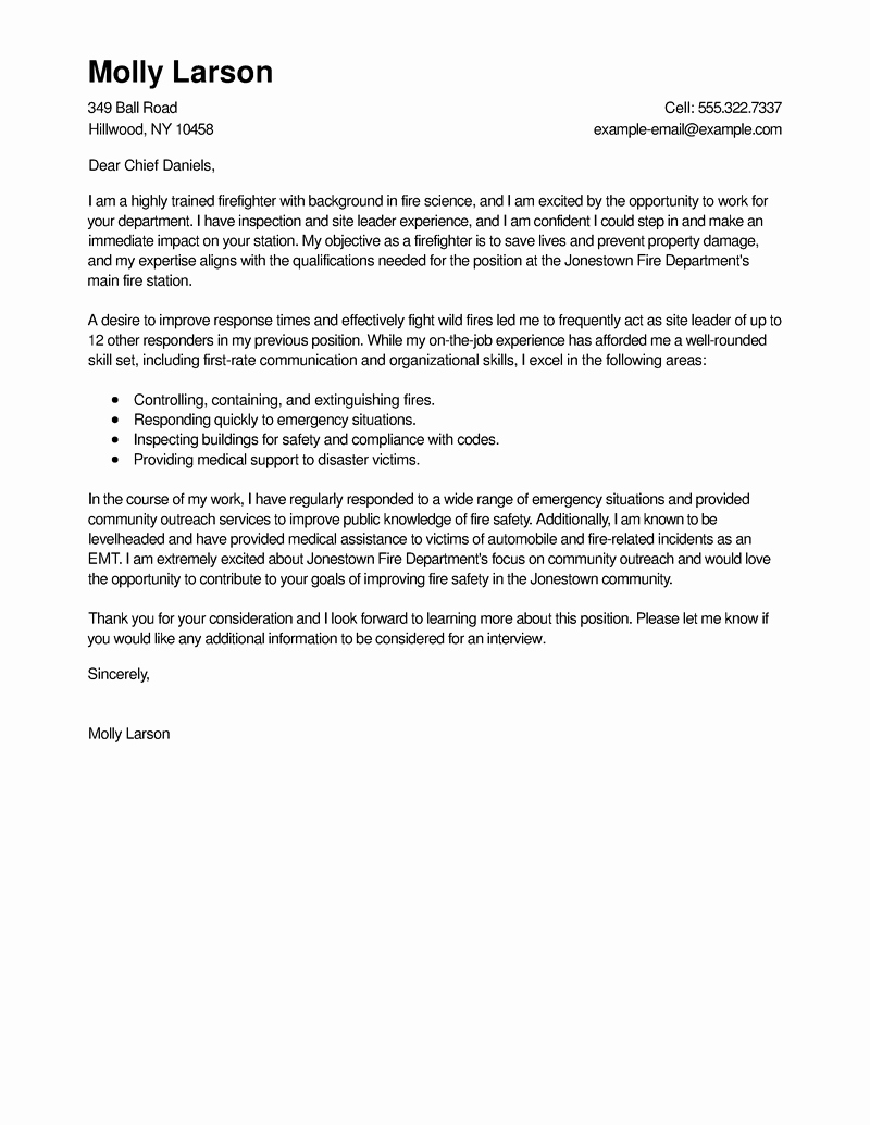 Firefighter Letter Of Recommendation Awesome Best Firefighter Cover Letter Examples