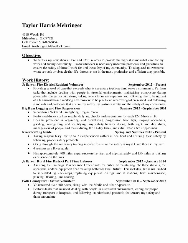 Firefighter Letter Of Recommendation Lovely Wildland Firefighter Resume Sample