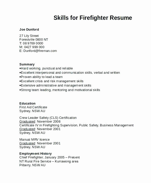 Firefighter Letter Of Recommendation Unique Firefighter Resume Objective Examples
