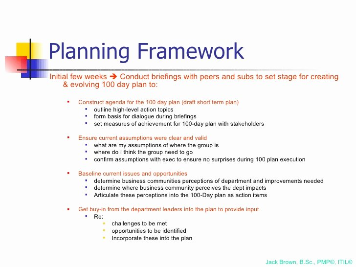 First 100 Days Plan Template Beautiful 100 Day Plan for Directing A Pmo