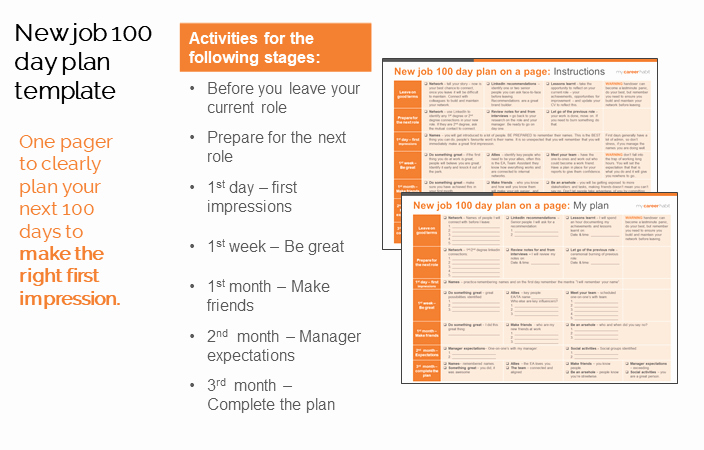 First 100 Days Plan Template Unique New Job 100 Day Plan Template Make A Great First Impression