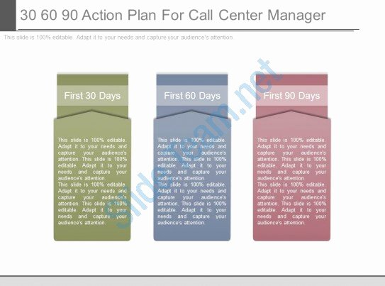 First 90 Days Plan Template New 30 60 90 Action Plan for Call Center Manager Ppt Slides