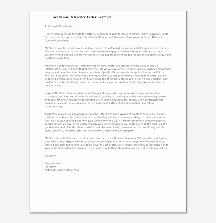 Fiu Letter Of Recommendation Beautiful Academic Reference Letter Sample Letters & formats