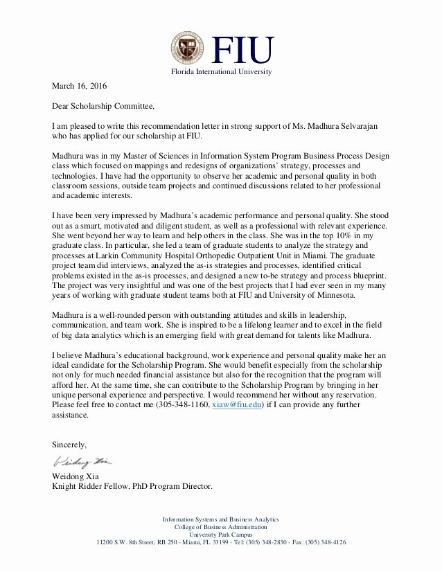 Fiu Letter Of Recommendation Best Of Fiu Scholarship Re Mendation Letter for Madhura