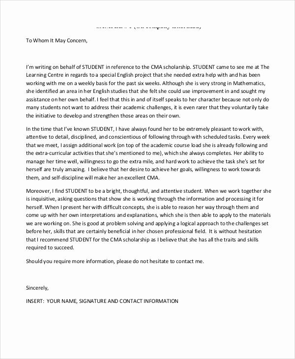 Fiu Letter Of Recommendation New Sample Student Letter