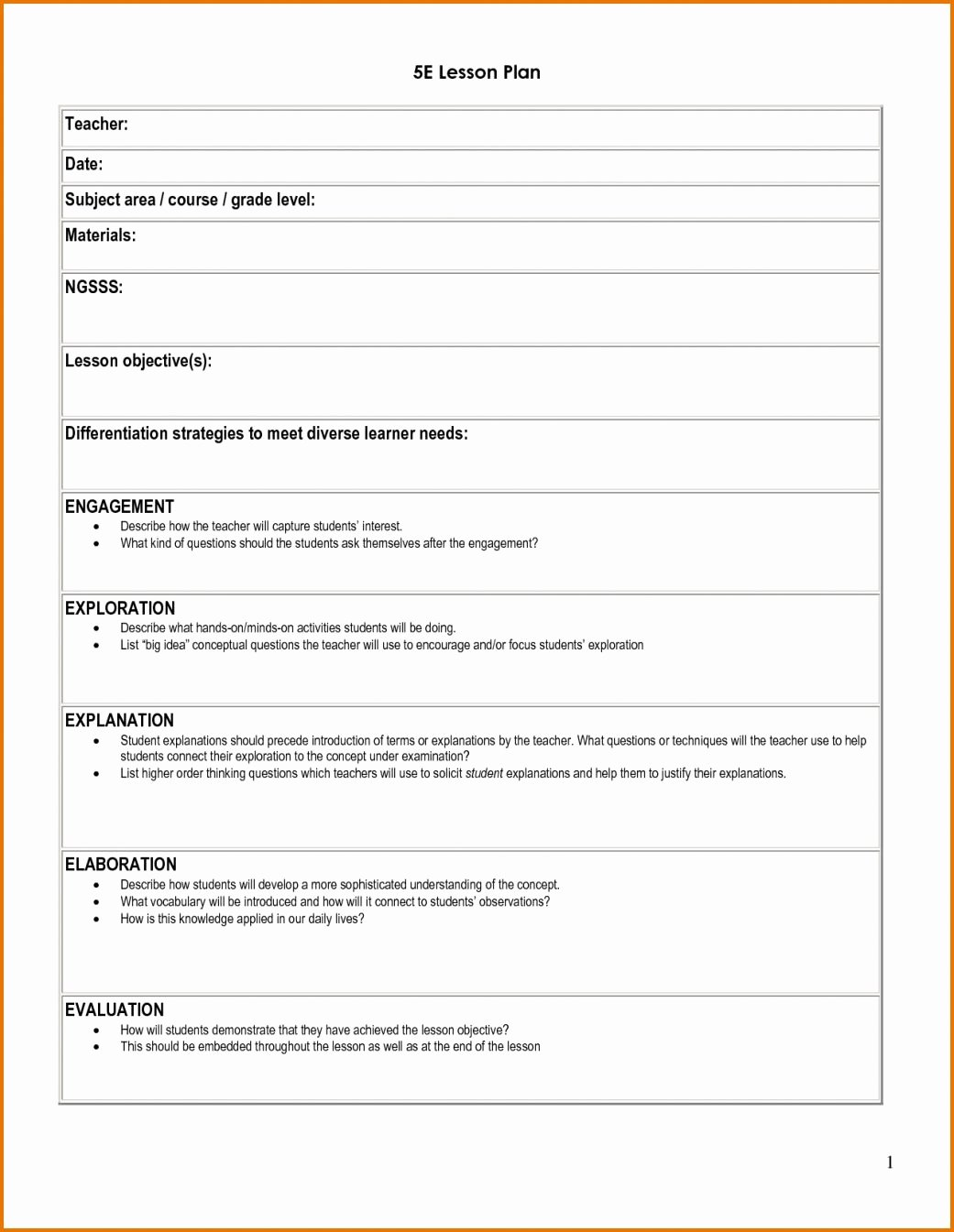 Five E Lesson Plan Template Elegant 5 E Lesson Plan Template Classroom