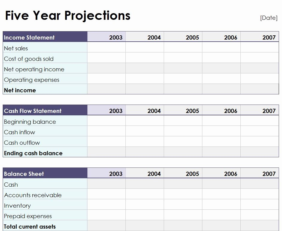 Five Year Plan Template Lovely Five Year Projection Worksheet
