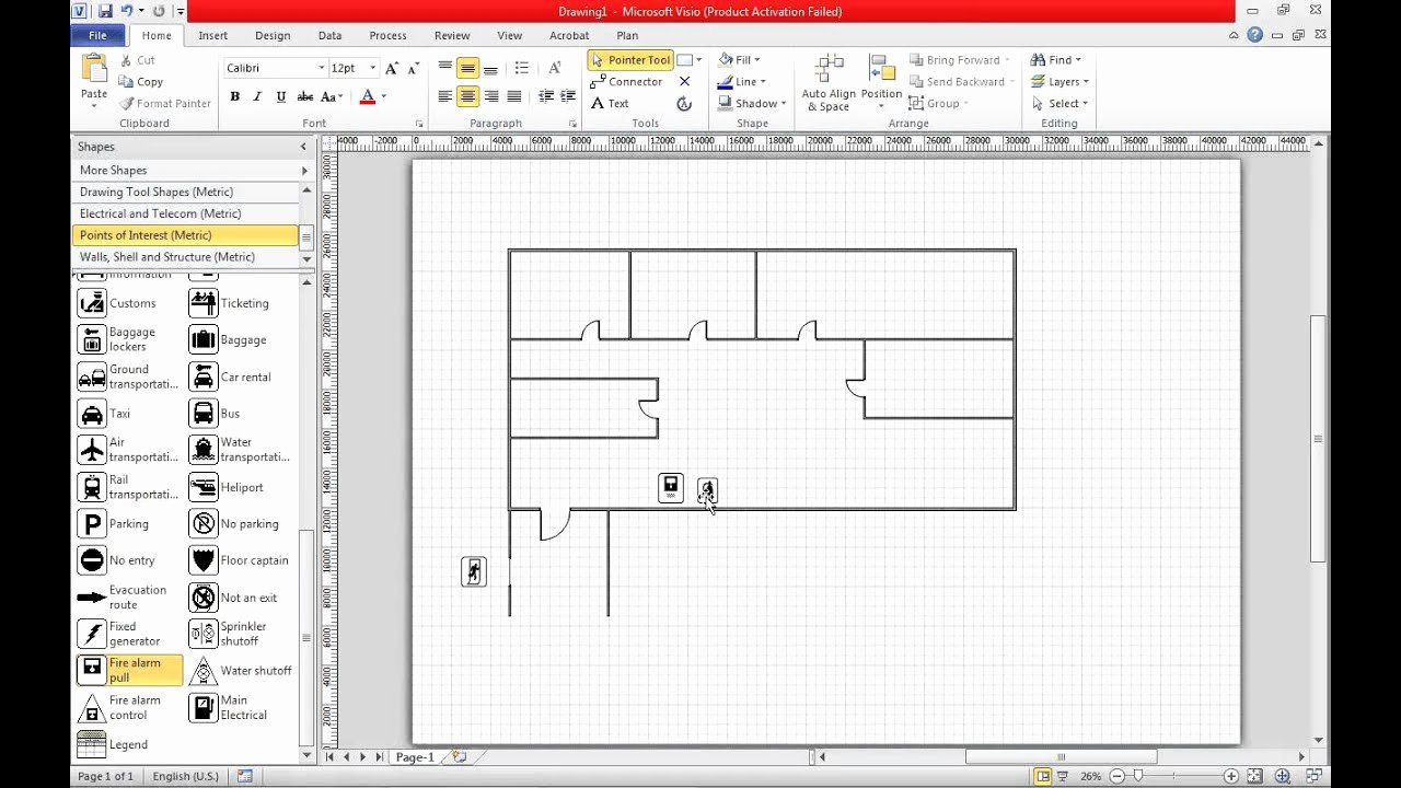 Floor Plan Template Word Awesome Create A Fire Escape Plan In Visio 2010