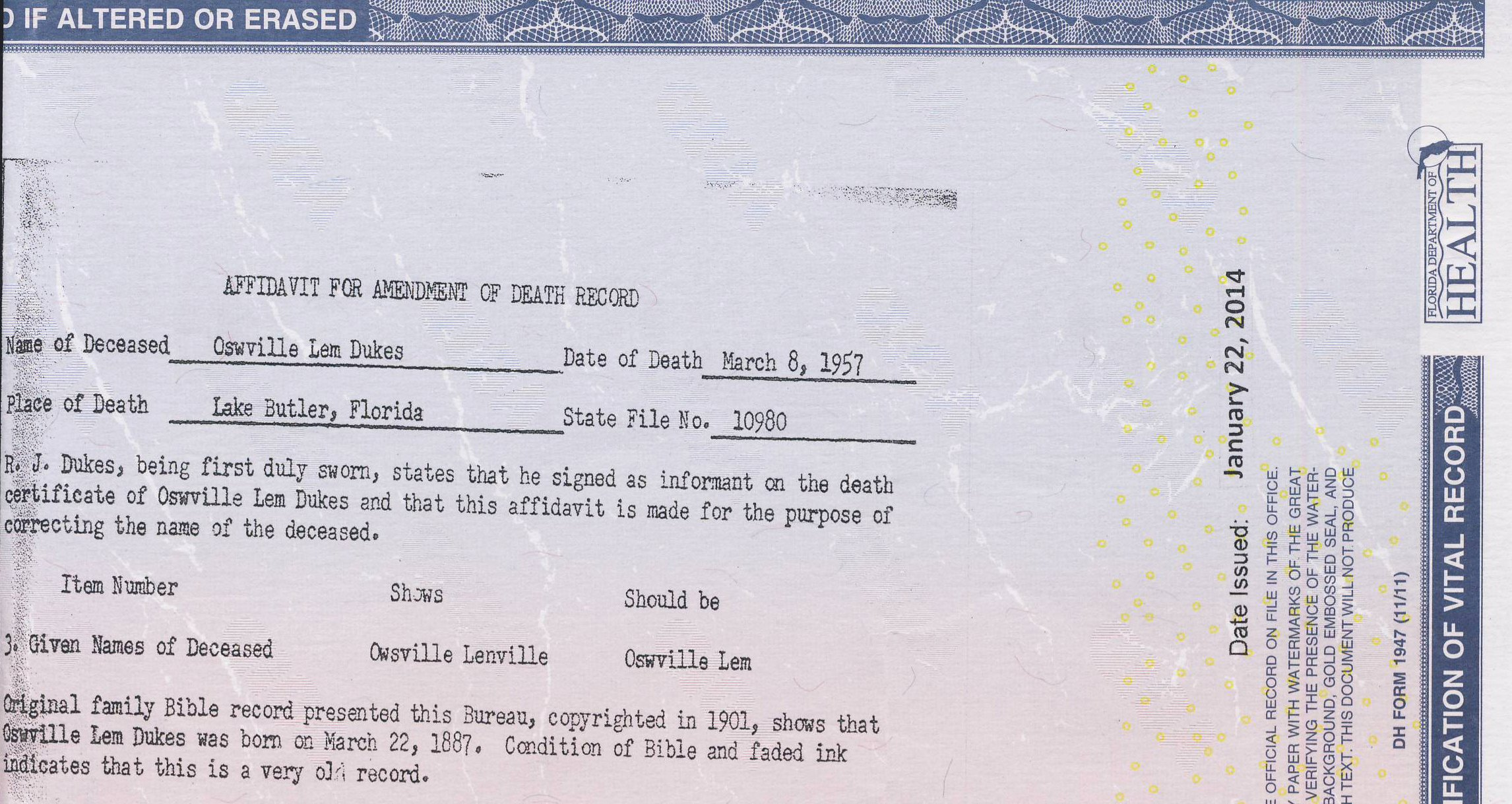 Florida Death Certificate Sample Beautiful An Amended Death Certificate