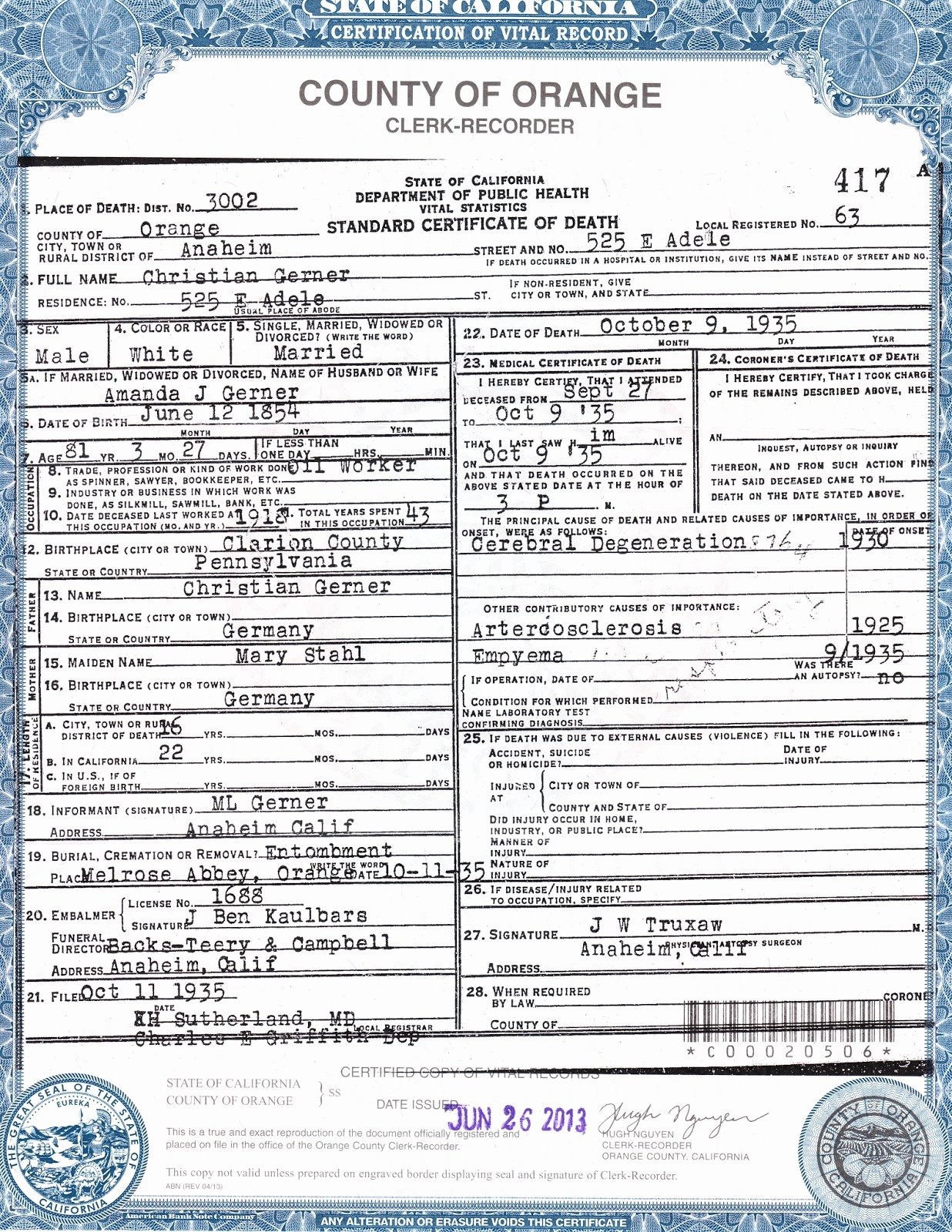 Florida Death Certificate Sample Elegant This Copy is Not Valid unless Prepared On An Engraved