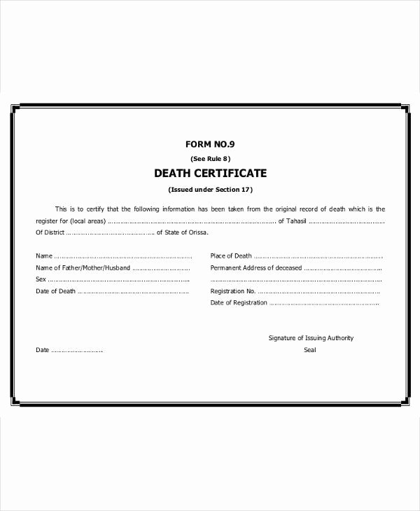 Florida Death Certificate Sample Unique 24 Of Ohio Ficial Death Certificate Template
