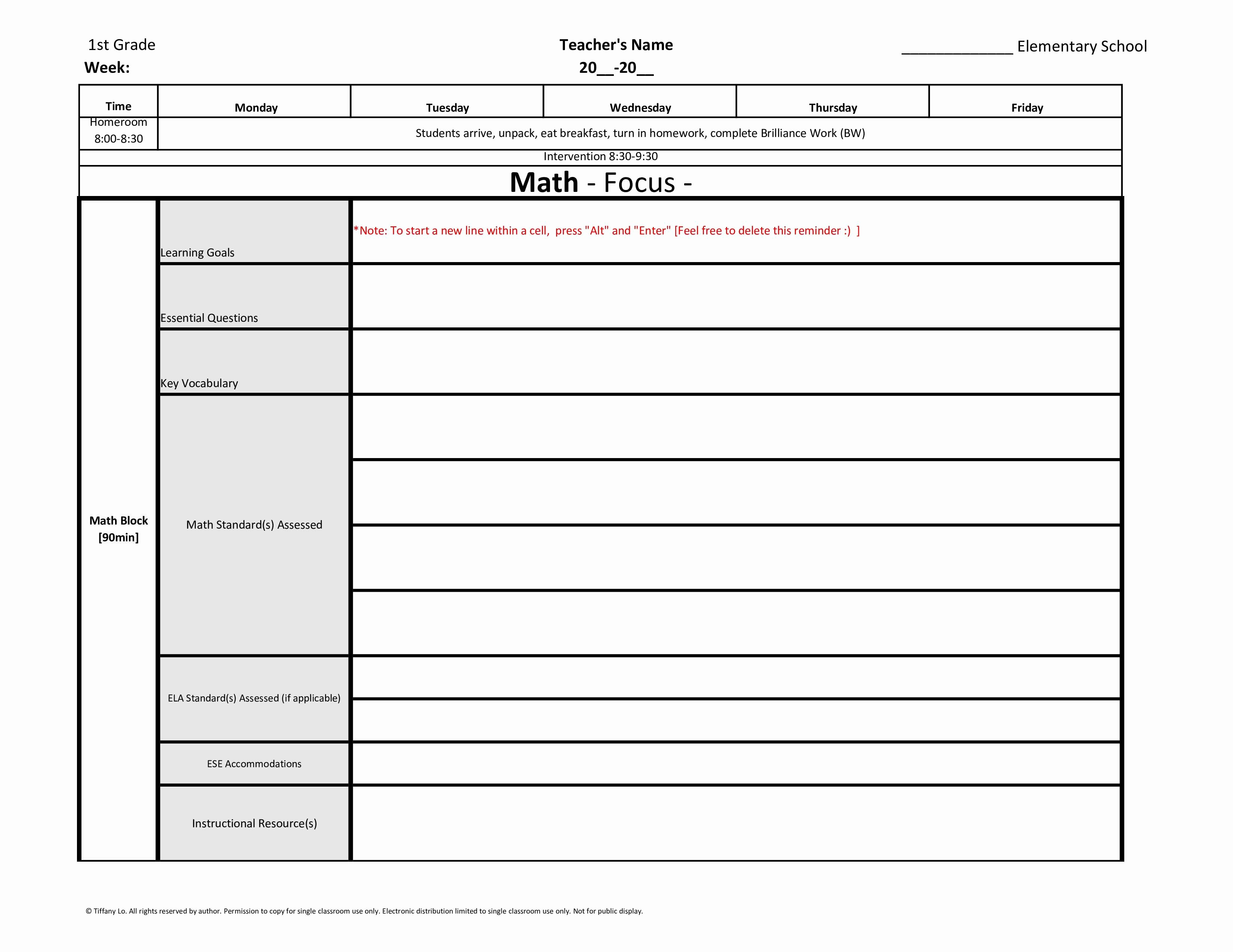 Florida Lesson Plan Template Elegant 1st First Grade Weekly Lesson Plan Template W Florida