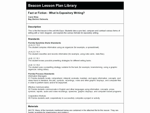 Florida Lesson Plan Template Luxury Florida Mon Core Standards Lesson Plan Template Florida