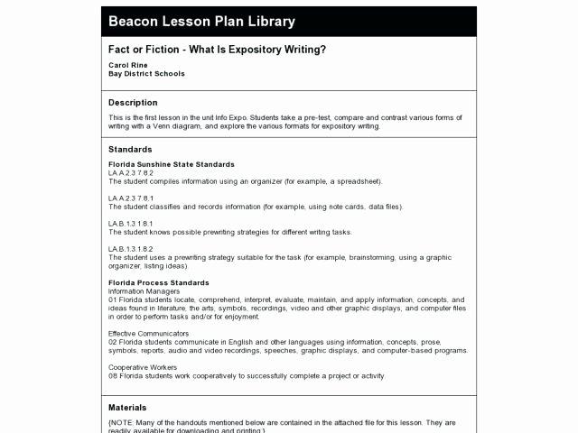 Florida Lesson Plan Template Luxury Florida Mon Core Standards Lesson Plan Template Florida