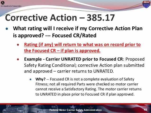 Fmcsa Corrective Action Plan Template Awesome Hni U Fmcsa Update