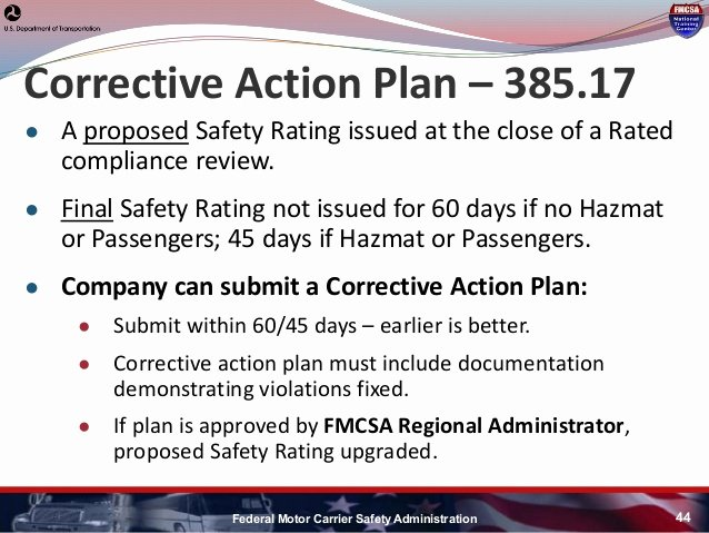 Fmcsa Corrective Action Plan Template Luxury Hni U Fmcsa Update