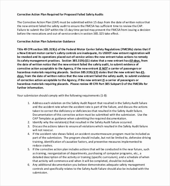 Fmcsa Safety Management Plan Template Beautiful Corrective Action Plan Template 25 Free Word Excel Pdf