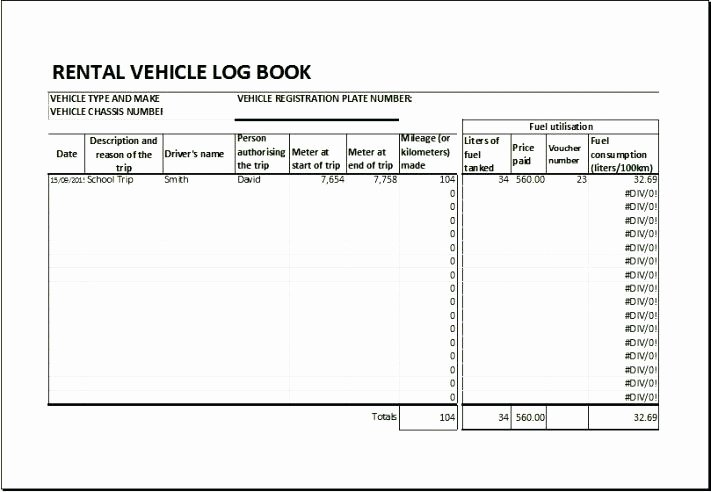Fmcsa Safety Management Plan Template New Sample Vehicle Log Book