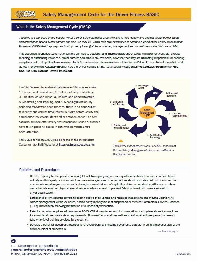 Fmcsa Safety Management Plan Template Unique Csa Help Center Resources