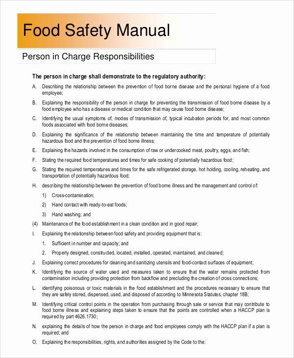 Food Safety Plan Template Elegant 8 Sample Safety Manuals