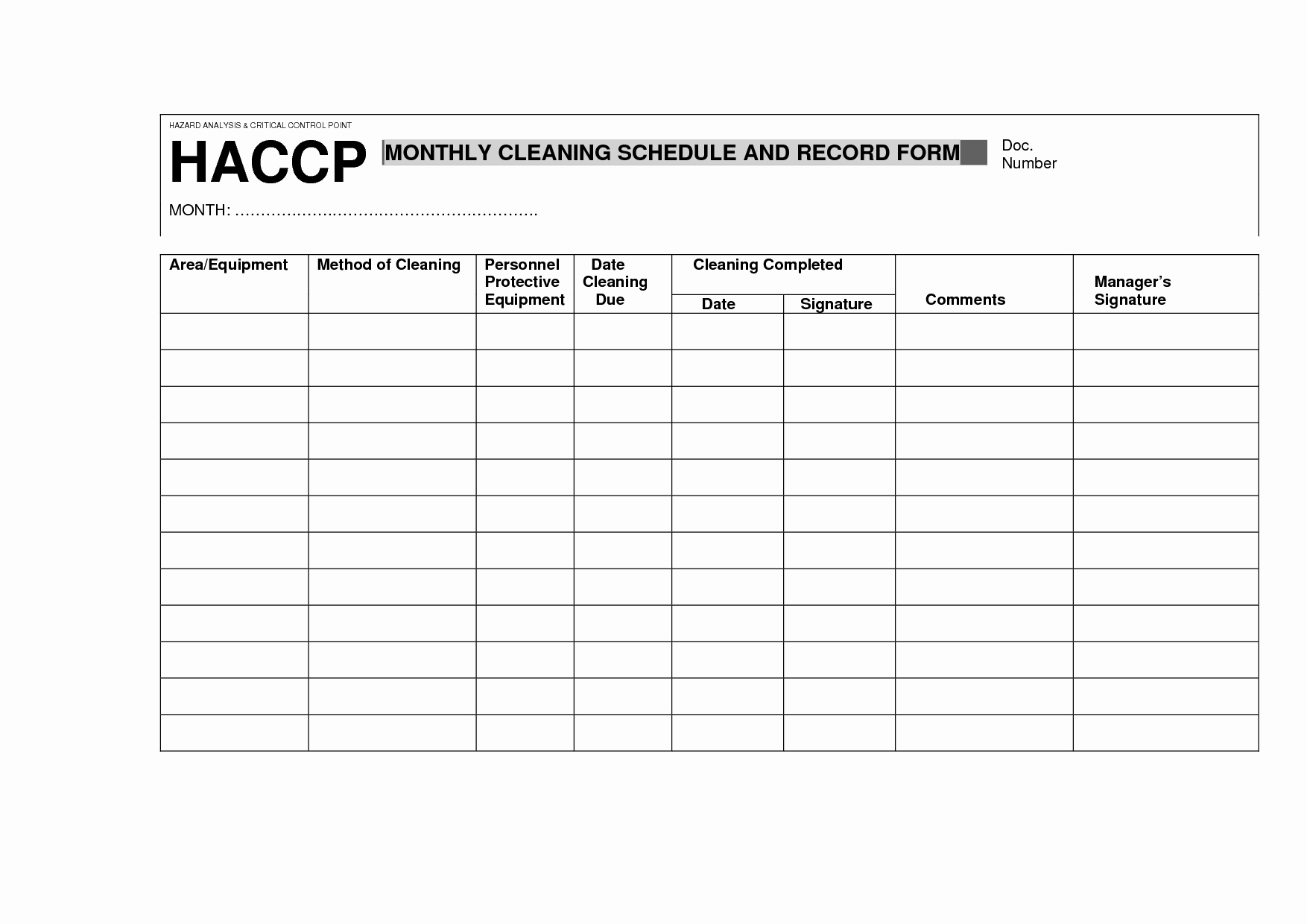 Food Safety Plan Template Elegant Haccp Cleaning Schedule and Record form
