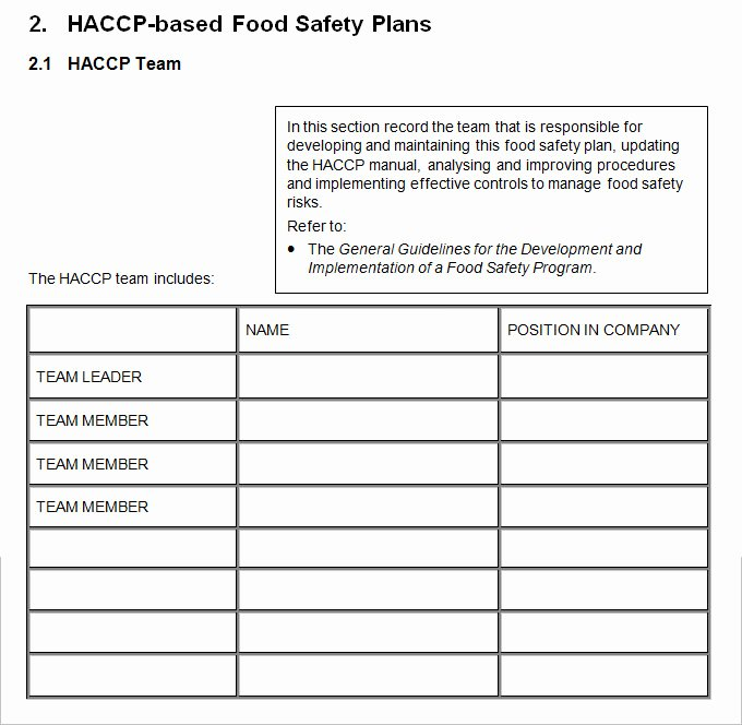 Food Safety Plan Template Elegant Haccp Plan Template 6 Free Word Pdf Documents Download