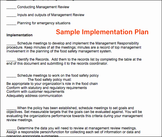 Food Safety Plan Template Elegant iso Template Package