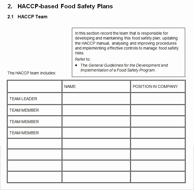 Food Safety Plan Template Inspirational 26 Of Haccp Plan Template Blank form