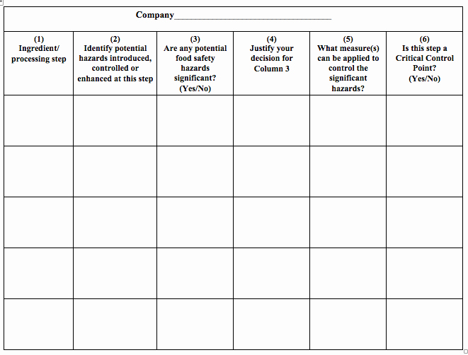 Food Safety Plan Template Lovely Haccp Templates