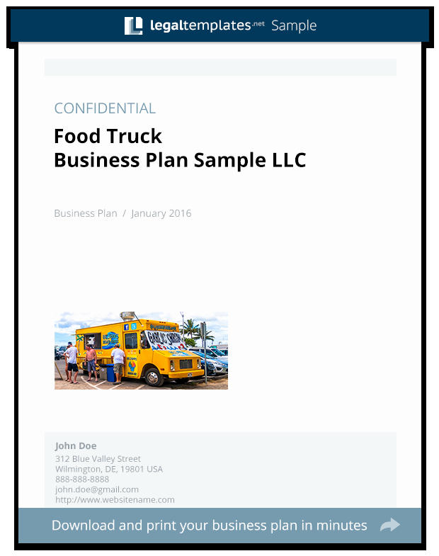 Food Truck Business Plan Template New Food Truck Business Plan Sample