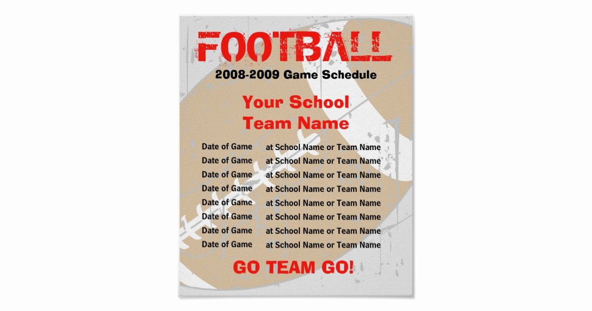 Football Game Plan Template Unique Football Schedule Poster Template