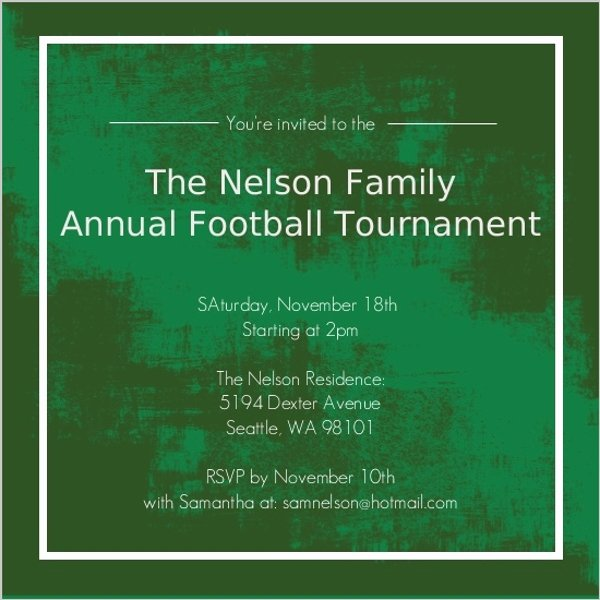 Football Match Invitation Letter format Best Of Family Football tournament Party Invitation
