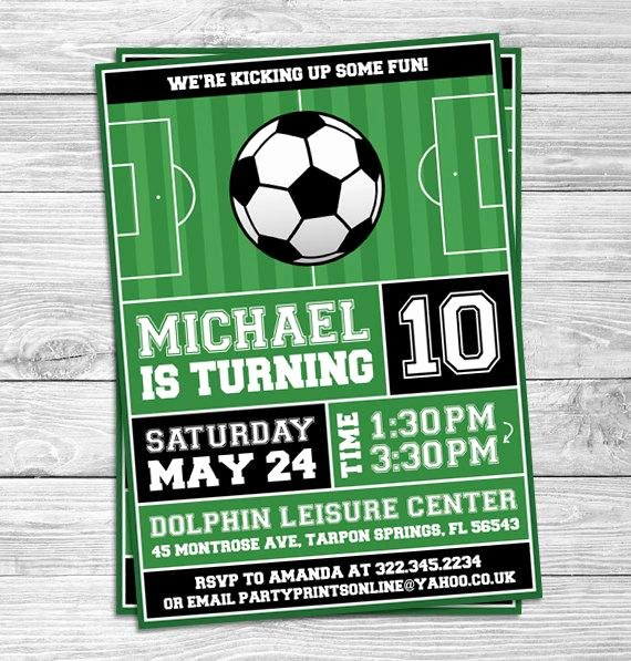 Football Match Invitation Letter format Elegant soccer Football Birthday Party Invitations for Kids Party