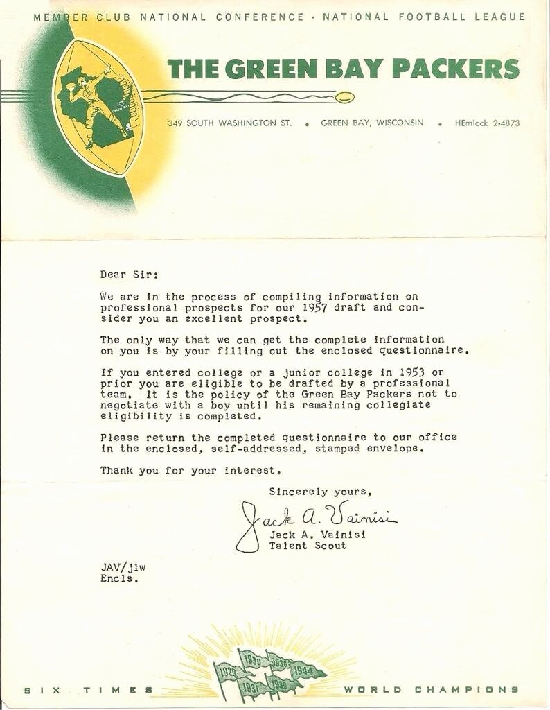 Football Match Invitation Letter format Lovely 5 Time All Pro Jerry Kramer's 1957 Invite Letter From the