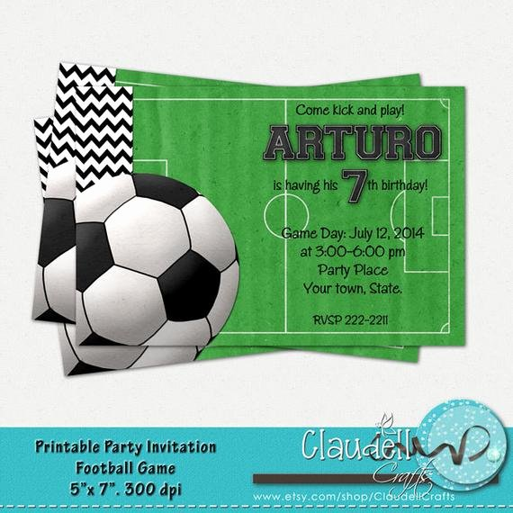 Football Match Invitation Letter format Lovely Football soccer Game Printable Birthday Invitation Card