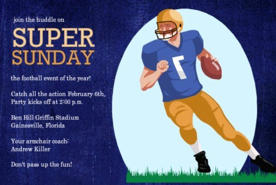 Football Match Invitation Letter format Luxury Football Invitations for Tailgates Superbowls Birthdays