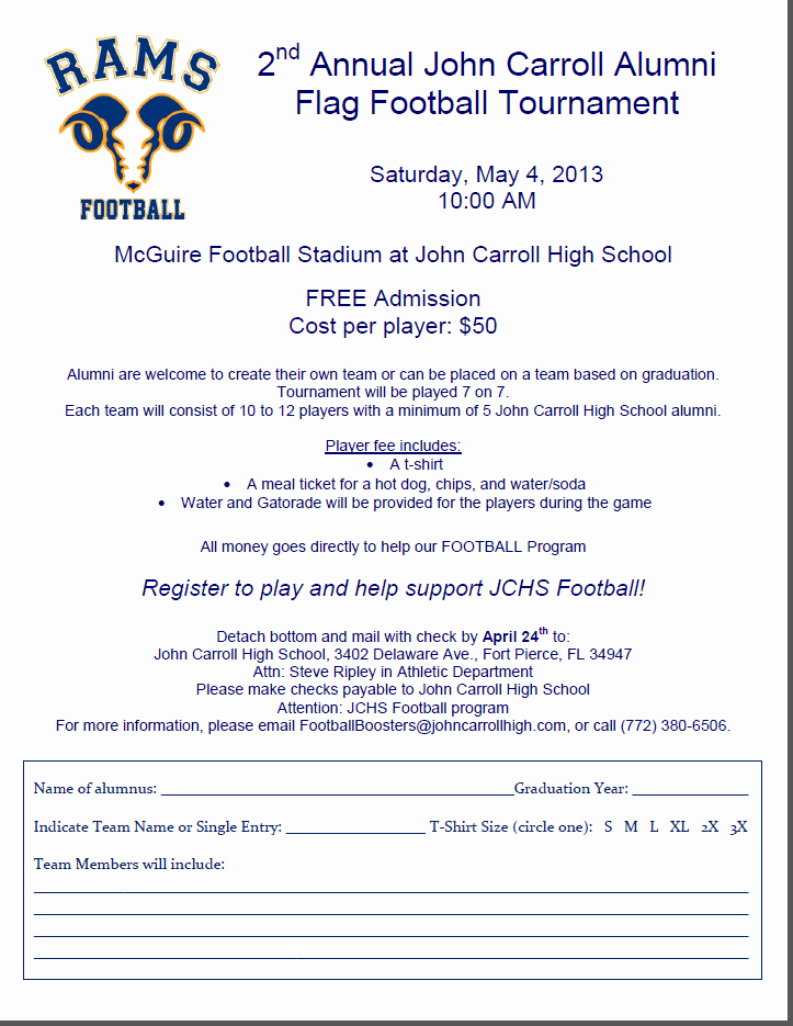Football Match Invitation Letter format Luxury John Carroll High School